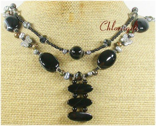 BLACK AGATE & CRYSTAL & FW PEARL 2ROW NECKLACE