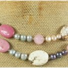 WHITE TURQUOISE RHODONITE ROSE QUARTZ 2ROW NECKLACE