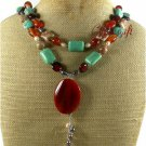 RED AGATE TURQUOISE AUTUMN JASPER PEARLS 2ROW NECKLACE
