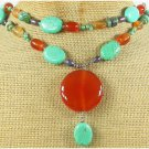 RED CARNELIAN TURQUOISE FW PEARL 2ROW NECKLACE