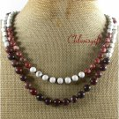 NATURAL WHITE TURQUOISE PICTURE JASPER 2ROW NECKLACE