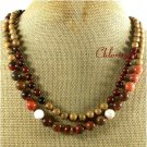 NATURAL PICTURE JASPER MAHOGANY OBSIDIAN 2ROW NECKLACE