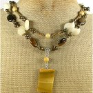 MOOKITE YELLOW JADE TIGER EYE PEARLS 2ROW NECKLACE