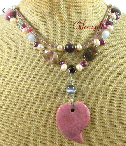 RHODONITE & MOOKITE & FW PEARL 2ROW NECKLACE