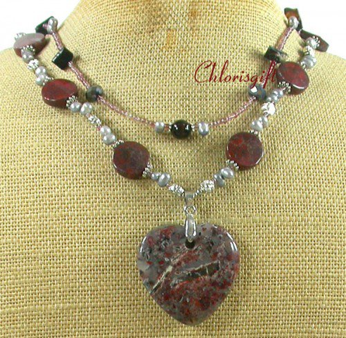 BACCIATED JASPER & CRYSTAL & PEARL 2ROW NECKLACE