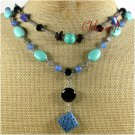 BLUE CINNABAR TURQUOISE AGATE LAPIS 2ROW NECKLACE