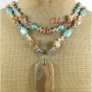 TURQUOISE PICTURE JASPER FW PERAL 2ROW NECKLACE