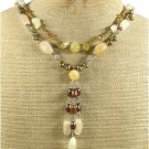 YELLOW JADE CRYSTAL FRESH WATER PEARLS 2ROW NECKLACE