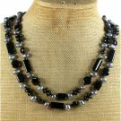 BLACK AGATE FRESH WATER PEARLS 2ROW NECKLACE