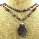 FANCY JASPER BACCIATED JASPER PEARL 2ROW NECKLACE