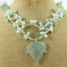 GREEN AVENTURINE LEAF &JADE & TREE JASPER 2ROW NECKLACE
