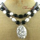WHITE TURQUOISE BLACK AGATE FW PEARL 2ROW NECKLACE