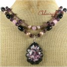FLOWER LAMPWORK BLACK AGATE PINK JADE 2ROW NECKLACE