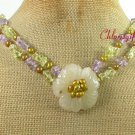 YELLOW JADE FLOWER QUARTZ PEARL 2ROW NECKLACE