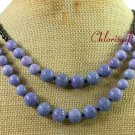 PURPLE CORAL & BLACK AGATE 2ROW NECKLACE