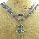 BLUE CRYSTAL JADE QUARTZ PEARLS 2ROW NECKLACE
