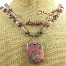 RHODONITE CRYSTAL PEARLS 2ROW NECKLACE