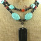 BLACK RED AGATE TURQUOISE 2ROW NECKLACE