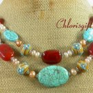 TURQUOISE RED CARNELIAN FLOWER LAMPWORK 2ROW NECKLACE