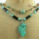 TURQUOISE BLACK AGATE CRYSTAL 2ROW NECKLACE