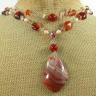 RED AGATE QUARTZ CRYSTAL PEARL 2ROW NECKLACE