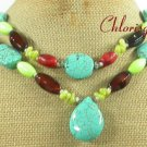 TURQUOISE GASPEITE AGATE CORAL 2ROW NECKLACE
