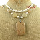 PICTURE JASPER & YELLOW JADE & FW PEARL 2ROW NECKLACE