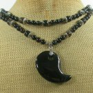 NATURAL BLACK AGATE 2ROW NECKLACE
