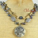 PICASSO JASPER & FRESH WATER PEARLS 2ROW NECKLACE