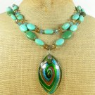 MURANO GLASS TURQUOISE CRYSTAL 2ROW NECKLACE