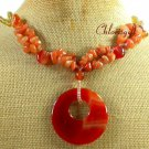 RED AGATE & HONEY JADE & YELLOW CRYSTAL 2ROW NECKLACE