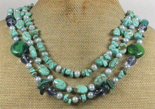 TURQUOISE BLUE CRYSTAL FW PEARLS 3ROW NECKLACE