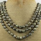 NATURAL DALMATIAN JASPER 3ROW NECKLACE
