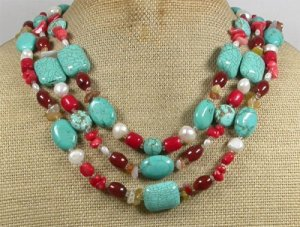 TURQUOISE RED CORAL AGATE PEARLS 3ROW NECKLACE