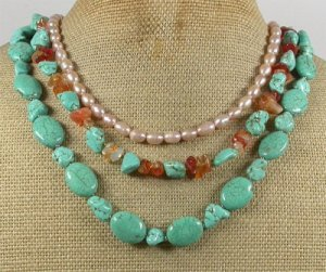 TURQUOISE AGATE FRESH WATER PEARLS 3ROW NECKLACE