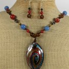 MURANO GLASS RED AGATE BLUE JADE NECKLACE/EARRINGS SET