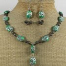 GREEN AFRICAN TURQUOISE LABORADITE NECKLACE/EARRINGS SET