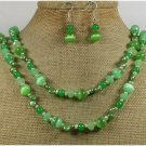 40 GREEN JADE QUARTZ CAT EYE NECKLACE/EARRINGS SET