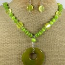 OLIVE AGATE & CAT EYE NECKLACE/EARRINGS SET