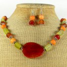 RED FIRE AGATE YELLOW AGATE CORAL NECKLACE/EARRINGS SET