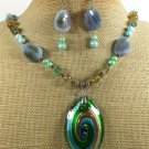 MURANO GLASS AGATE QUARTZ PEARLS NECKLACE/EARRINGS SET