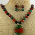 MULTI AGATE NECKLACE/EARRINGS SET