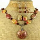 MUGER JASPER & FRESH WATER PEARLS NECKLACE/EARRINGS SET