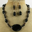NATURAL BLACK AGATE NECKLACE/EARRINGS SET