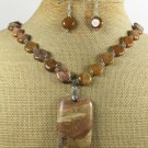 PICTURE JASPER & BROWN AGATE NECKLACE/EARRINGS SET