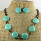 TURQUOISE & FRESH WATER PEARLS NECKLACE/EARRINGS SET