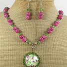 COPPER FLOWER PORTRAIT JADE NECKLACE/EARRINGS SET