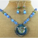 MURANO GLASS CAT EYE CLOISONNE NECKLACE/EARRINGS SET