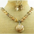 NATURAL PICTURE JASPER GEMSTONE NECKLACE/EARRINGS SET
