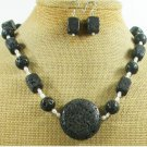 BLACK VOLCANO LAVA & FW PEARL NECKLACE/EARRINGS SET